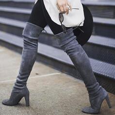 Dámské Koženka Široký podpatek Boty Kozačky nad kolena Podpatky Špičatá špička S Šněrovací Solid Color obuv