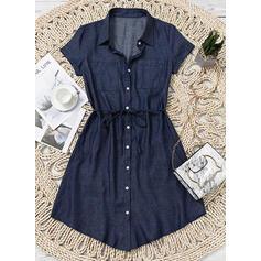 Jednolita Krótkie rękawy Pokrowiec Nad kolana Casual/Dżinsowa Koszula Sukienki