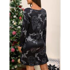 Animal Print Dlouhé rukávy Pouzdrové Délka ke kolenům Vánoce/Neformální Šaty