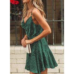 Print Sleeveless A-line Above Knee Sexy/Casual/Party Slip Dresses