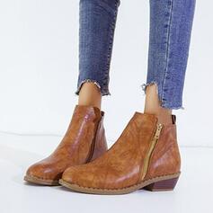De mujer PU Tacón bajo Botas al tobillo Encaje con Cremallera Color sólido zapatos