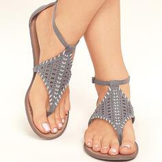 De mujer PU Tacón plano Sandalias con Hebilla zapatos