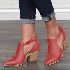 De mujer PU Tacón ancho Salón Cerrados Botas con Hebilla zapatos