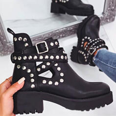 Vrouwen PU Chunky Heel Martin Boots Ronde neus met Klinknagel Hol-out schoenen