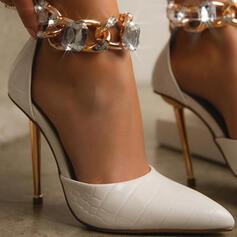 婦人向け PU スティレットヒール ポンプ かかと とともに ラインストーン チェーン ソリッドカラー 靴