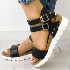PU Flat Heel Sandaler Kilar Peep Toe Klackar med Spänne skor