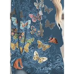 Virágos Animal Print Kulatý Výstřih Dlouhé rukávy Mikina