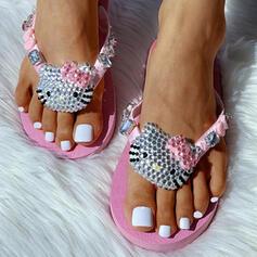 De mujer Tejido Tacón plano Sandalias Encaje Chancletas Pantuflas con Rhinestone zapatos