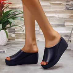 Bayanlar PU Sivri topuk Sandalet Peep Toe Terlik ayakkabı