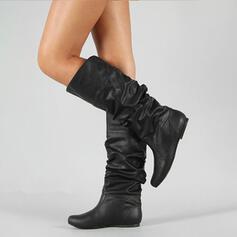 Frauen PU Niederiger Absatz Kniehocher Stiefel mit Geraffte Schuhe