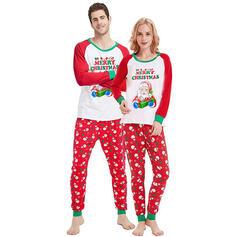 Santa Claus Color-Block Písmeno Rodinné odpovídající Vánoční pyžama
