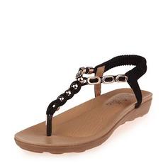 De mujer Cuero Tipo de tacón Sandalias Planos Encaje Solo correa con Cuentas Banda elástica zapatos
