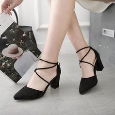 Mulheres Camurça Salto robusto Fechados sapatos