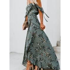 Nadrukowana/Kwiatowy Krótkie rękawy W kształcie litery A Łyżwiaż Seksowna/Przyjęcie Maxi Sukienki