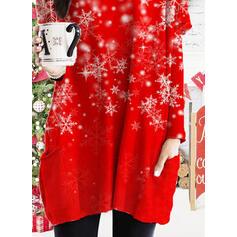 Nyomtatás Kapsy Kulatý Výstřih Dlouhé rukávy Vánoční mikina