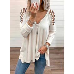 Solido Spalle esposte Maniche lunghe Casuale Camicie