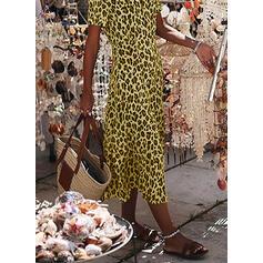Leopard Short Sleeves Sheath Casual Midi Dresses