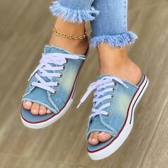 De mujer Lona Tacón plano Sandalias Encaje Solo correa con Cordones zapatos