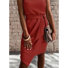 Jednolita Bez rękawów Bodycon Nad kolana Przyjęcie Sukienki
