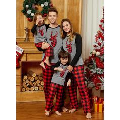 Kostkovaný Rodinné odpovídající Vánoční pyžama