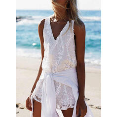 Lace/Solid/Backless Sleeveless Shift Above Knee Casual/Vacation Dresses