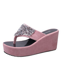 De mujer Ante Tipo de tacón Sandalias Encaje Chancletas Pantuflas con Rhinestone Lentejuelas zapatos