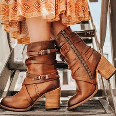 De mujer PU Tacón ancho Salón Botas con Hebilla Cremallera zapatos