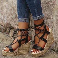 De mujer Cuero Tipo de tacón Sandalias con Cordones zapatos