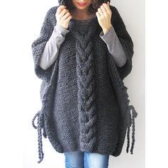 Solid Kabelsticka Klumpig stickning Hooded Överdimensionella Casual Tröja klänning