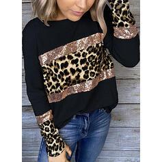 Color Block Flitry Leopard Kulatý Výstřih Dlouhé rukávy Neformální kötött Blůzy