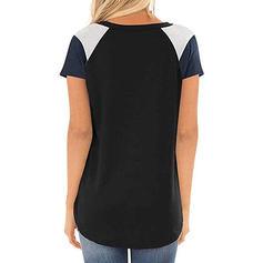 Color Block Round Neck Korta ärmar Fritids Stickning T-shirts