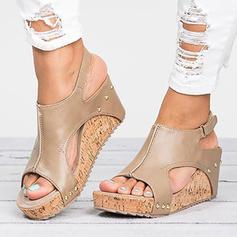 De mujer Cuero Tipo de tacón Sandalias Salón Encaje Solo correa con Rivet zapatos