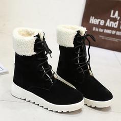 Mulheres Camurça Sem salto Sem salto Fechados Botas Botas na panturrilha Botas de neve com Aplicação de renda sapatos