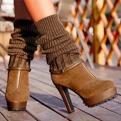 De mujer PU Plataforma Botas de calcetín con Cremallera zapatos