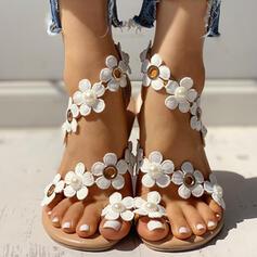 Kvinder PU Flad Hæl sandaler Fladsko Tåring med Blomst sko