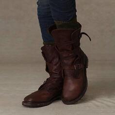 Kvinnor PU Låg Klack Halva Vaden Stövlar med Spänne skor