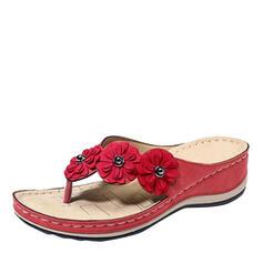 De mujer PU Tipo de tacón Sandalias Chancletas Pantuflas con Flor zapatos