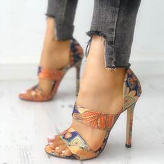 De mujer PU Tacón stilettos Sandalias Encaje zapatos
