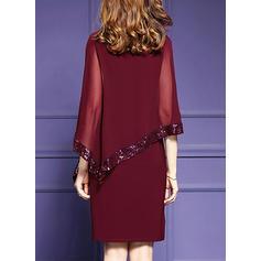 Paillettes Manches Fendues Fourreau Longueur Genou Décontractée/Fête/Élégante Robes