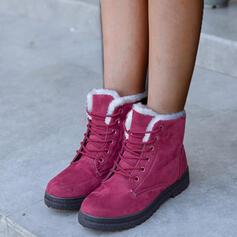 Donna Camoscio Senza tacco Stivali Punta rotonda Stivali invernali Stivali da neve con Allacciato Colore solido scarpe