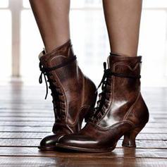 De mujer PU Tacón bajo Salón Cerrados Botas Botas longitud media con Cordones zapatos