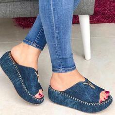Kvinnor Jeans Kilklack Sandaler Plattform Kilar Peep Toe Tofflor Klackar med Zipper Solid färg skor
