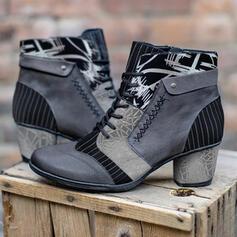 婦人向け PU チャンクヒール ブーツ とともに レースアップ 花柄 靴