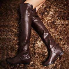 De mujer Cuero Tacón plano Planos Cerrados Botas Botas a la rodilla Botas sobre la rodilla Botas de equitación con Hebilla zapatos