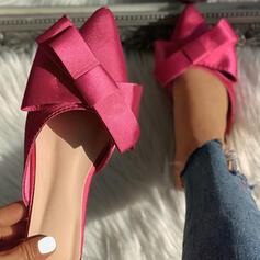 De mujer Tela Tacón bajo Sandalias Cerrados Pantuflas con Bowknot zapatos