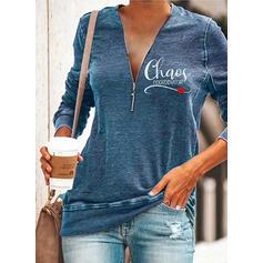 Wydrukować Figura Serce Dekolt w kształcie litery V Długie rękawy Bluza