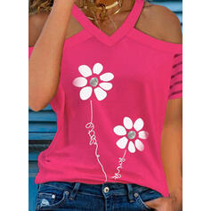 Print Floral Figure Cold Shoulder Short Sleeves Casual Blouses