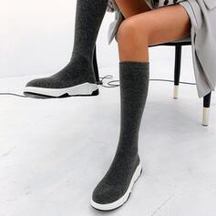 Donna Glitter scintillanti Senza tacco Stivali sopra il ginocchio Punta rotonda Stivali a calzino con Colore solido scarpe