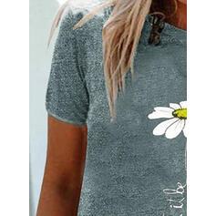 Květiny Tisk Dopis Bavlna Kulatý Výstřih Krátké rukávy Trička
