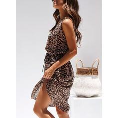 Leopardo Sin mangas Acampanado Hasta la Rodilla Casual/Vacaciones Patinador Vestidos